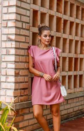 Vestido Beatriz Rose em Crepe Lugano
