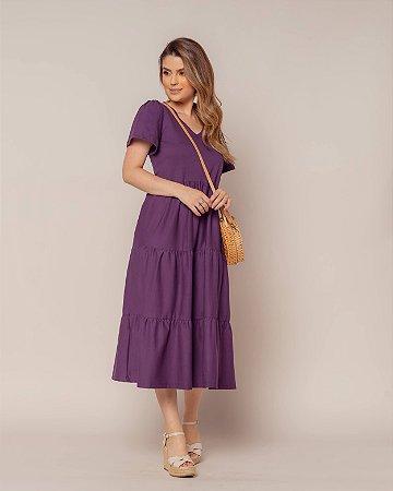 Vestido Malha Midi Purple Nani