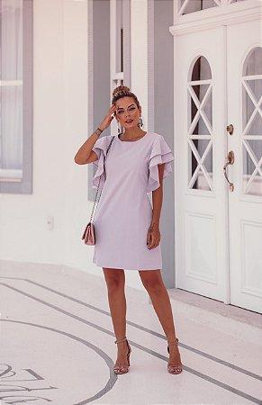 Vestido Chiara Manga Babado Lavanda