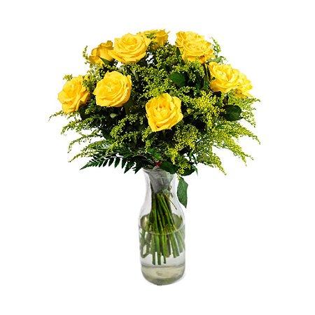Buquê Uma Dúzia de Rosas Amarelas