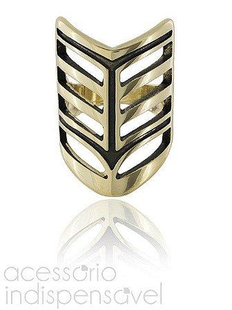 Anel Boho Escudo Dourado