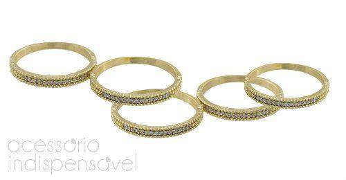 Anel Gold Bride com Strass Dourado