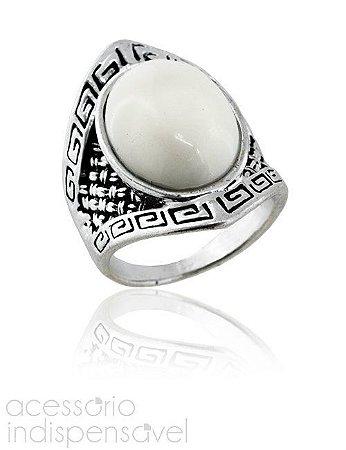 Anel Boho Étnico com Pedra Off White Prata Velho