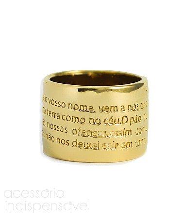 Anel Oração Pai Nosso Metal Dourado