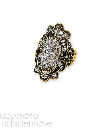 Anel Boho Turco Crystal com Strass Ouro Velho