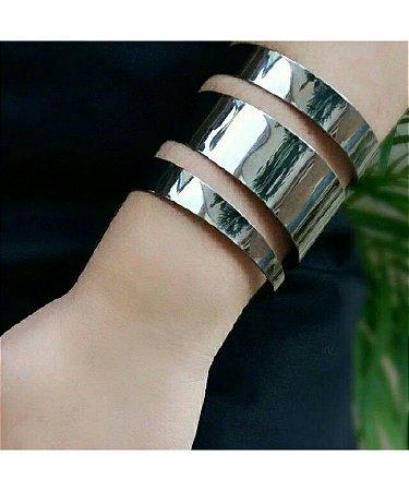 Bracelete Vazado Metal Liso Grafite