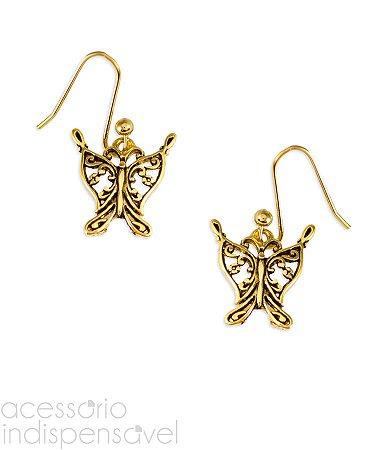Brinco Boho Pingente Butterfly Pequeno Ouro Velho