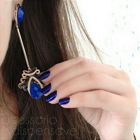 Brinco Klain Pêndulo Luxo com Pedra Azul Grande Dourado