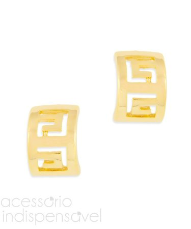 Brinco Geométrico Vazado Pequeno Dourado