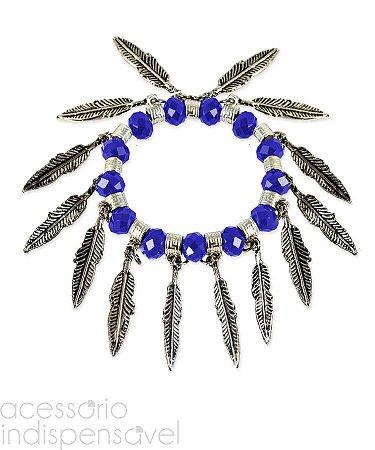 Pulseira Boho Indian com Pedra Cristal Azul Facetada Prata Velho