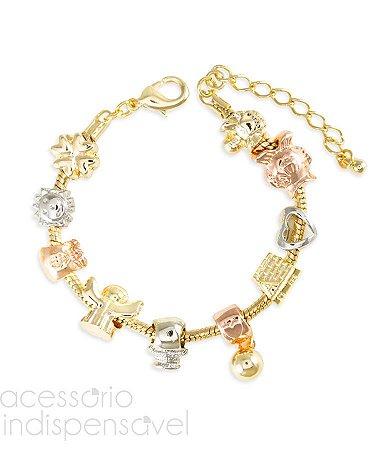 Pulseira Inspired Pandora Dourada