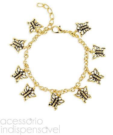 Pulseira Butterfly com Pingentes Dourada