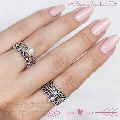 4754a020782 Kit Com 4 Anéis Boho Crown Pearl Prata Velho - www ...