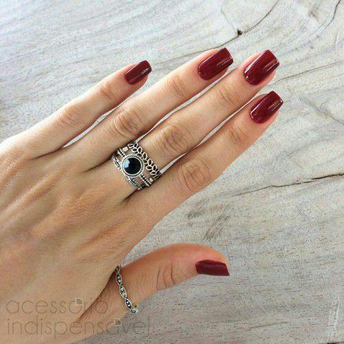 Kit Com 4 Anéis Boho Folha e Pedra Cristal Preta Prata Velho