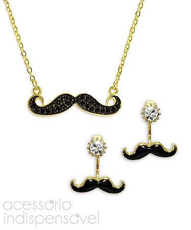 Kit Moustache com Colar e Brinco Strass Dourado