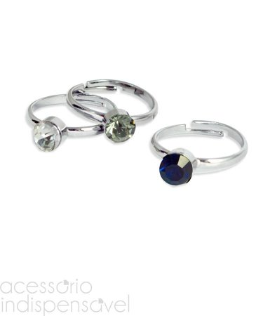 Kit Com 3 Anéis Stones Ring com Pedras de Cristal Prateados
