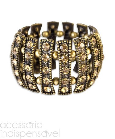 Bracelete Boho Puzzle com Pedras de Strass Ouro Velho