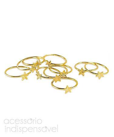 Kit com 3 Anéis de Falange Estrelas Dourado