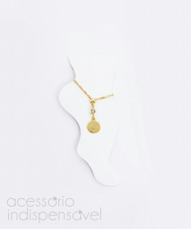 Tornozeleira Mandala Pai Nosso Dourado ou Prateado.