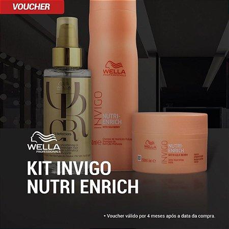 Kit Wella Invigo Enrich Shampoo 250ml + Máscara 150ml + Óleo Reflections 100mls