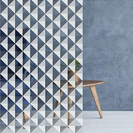 "Película Decorativa para Vidro Comercial ""Mosaico Triangular Branco"""