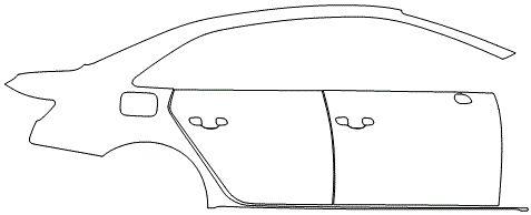 """Película ClearShield de Proteção de Pintura Transparente Super Brilho """"Kit Portas lado Direito/Paralama traseiro lado Direito"""" Audi A4 Sedan Ano 2011/2018"""