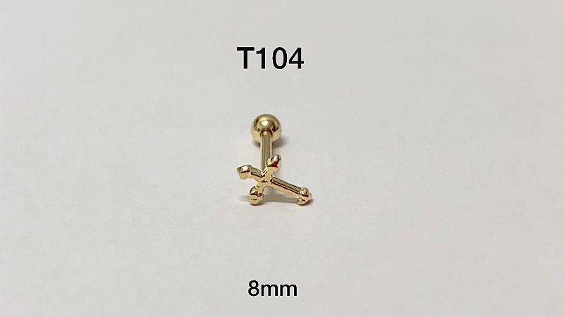 Tragus cruz folheado dourado 8mm