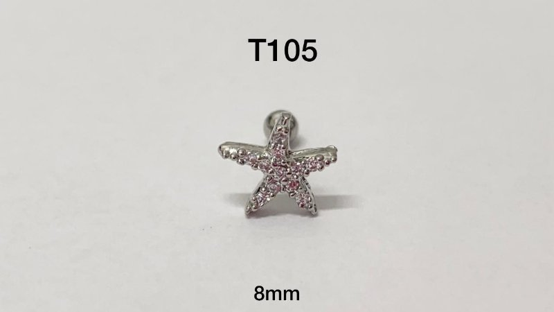 Tragus estrela folheado haste em aço 8mm