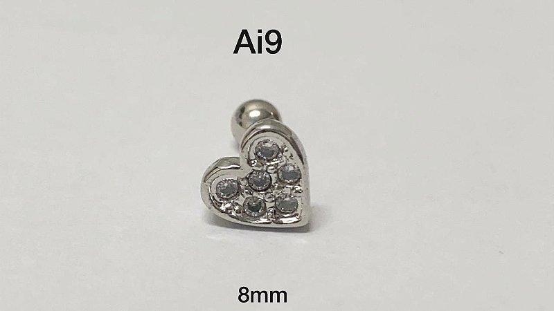 Tragus folheado coração haste em aço cirúrgico 8mm (bolinha 4mm)