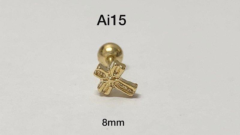 Tragus folheado dourado cruz haste em aço cirúrgico 8mm (bolinha 4mm)