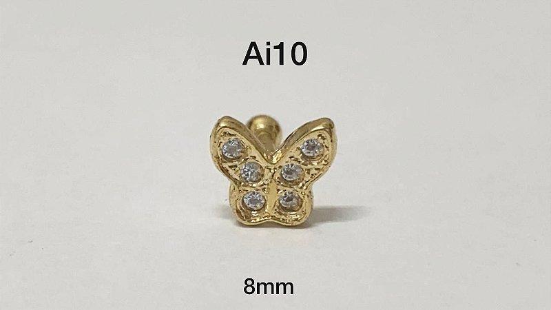 Tragus folheado dourado borboleta haste em aço cirúrgico 8mm (bolinha 3mm)