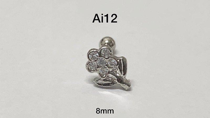 Tragus folheado flor 8mm (bolinha 3mm)