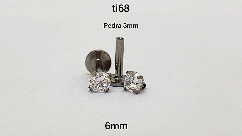 Labret titanio 6mm pedra 3mm