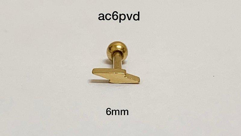 Tragus raio 100% aço pvd 6mm