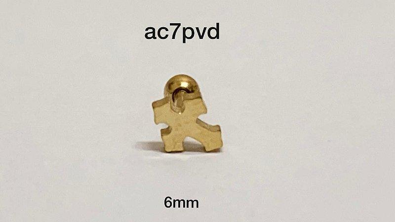 Tragus cruz 100% aço pvd 6mm