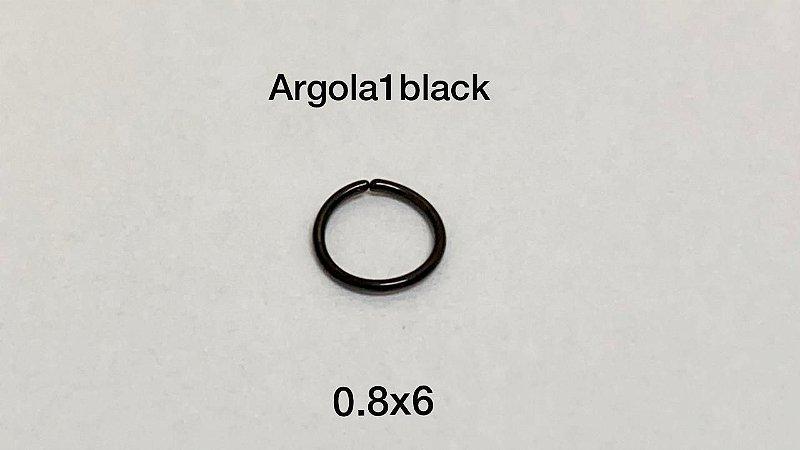 Argola nariz black 0.8 x 6mm