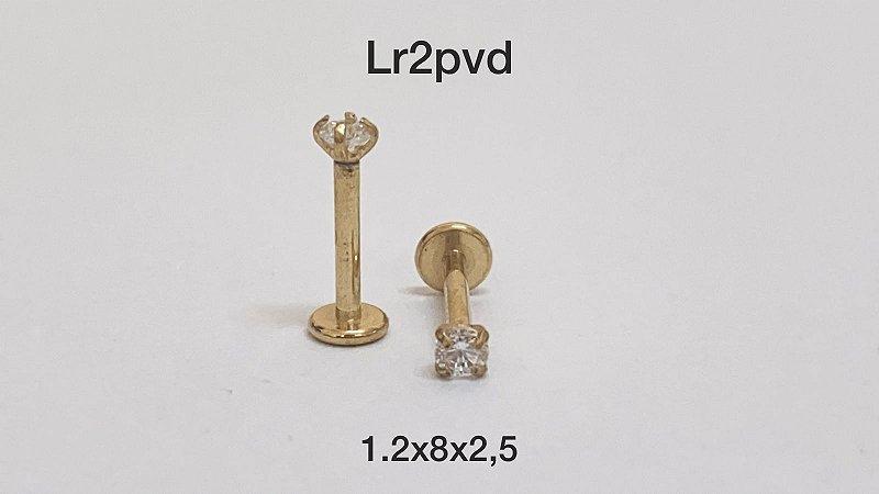 Labret aço pvd rosca interna 8mm pedra 2,5mm