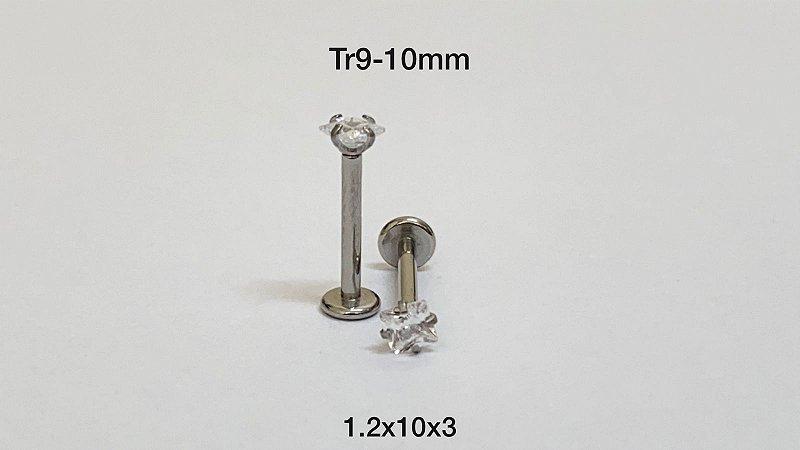 labret rosca interna 10mm pedra quadrado 3mm