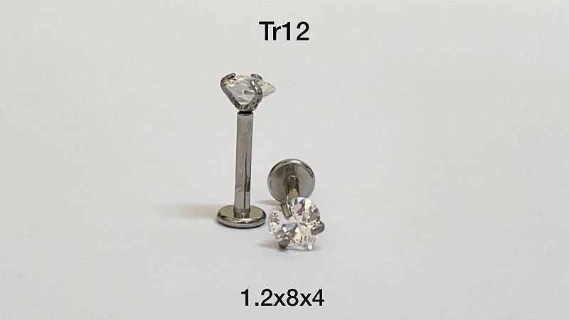 Labret rosca interna pedra coração 4mm