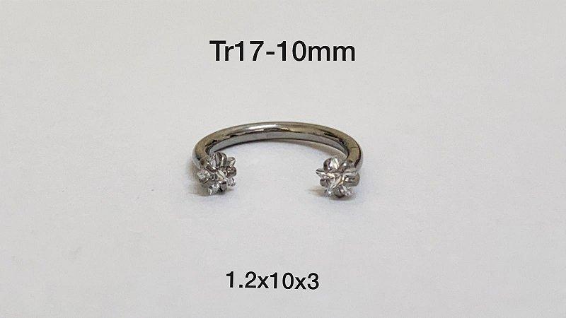 Ferradura rosca interna 10mm pedra estrela 3mm
