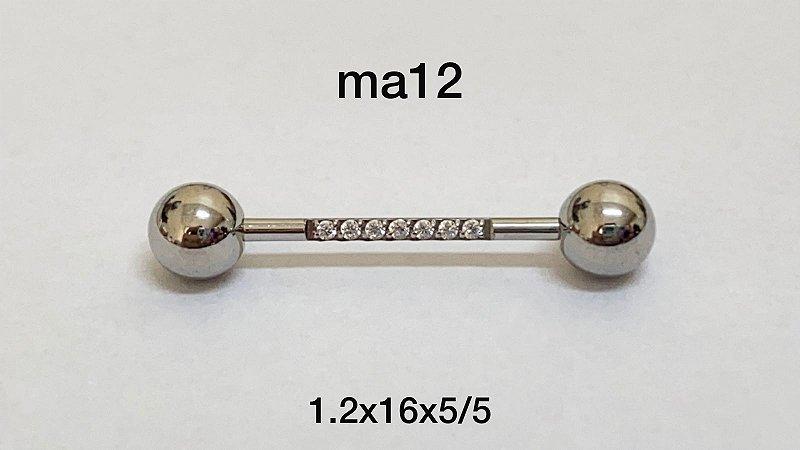 Mamilo aço cravejado 16mm