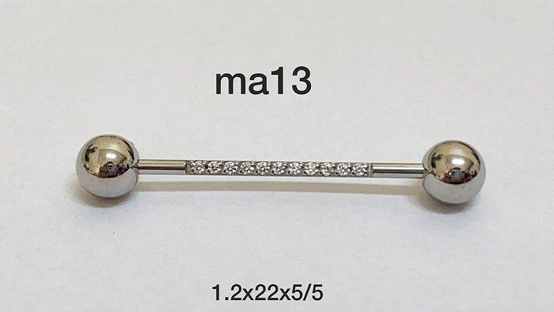Mamilo aço cravejado 22mm
