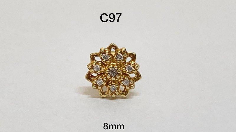 tragus flor dourado em prata haste em aço cirúrgico 8mm