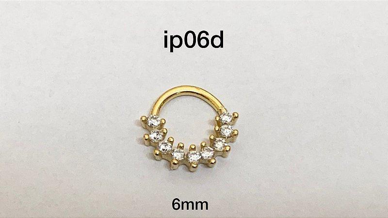 Argola em prata dourado 6mm