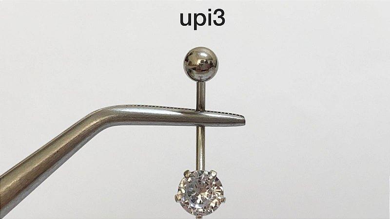 Umbigo base em aço cirúrgico garra em prata pedra zircônia