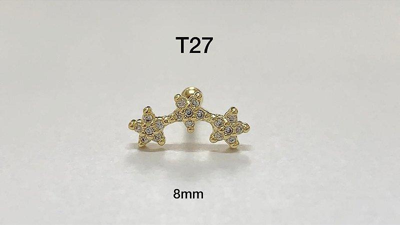 tragus 3 estrelas folheado dourado 8mm