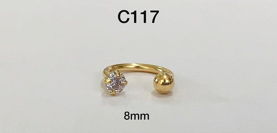 Ferradura rosca interna em prata dourado 8mm