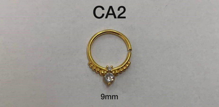 tragus em prata dourado 9mm