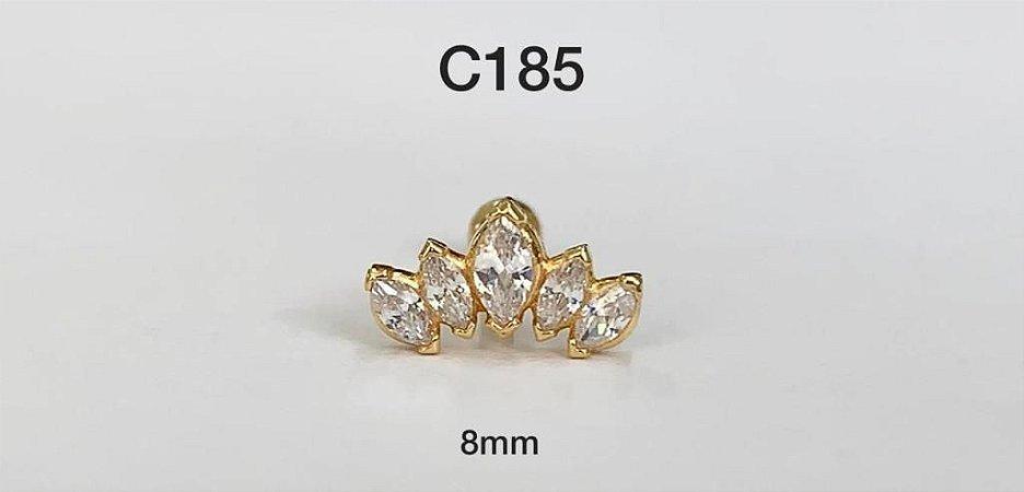 tragus navete 5 pedras em prata dourado 8mm
