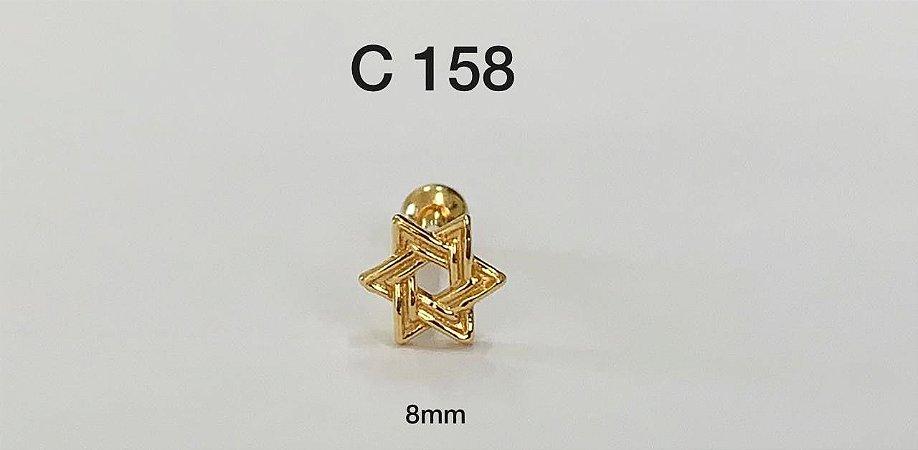 tragus estrela de Davi em prata dourado 8mm